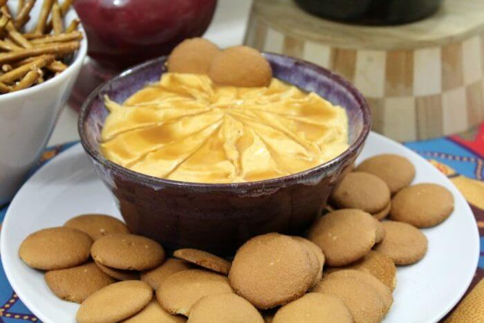 I love salted caramel pumpkin cheesecake dip with vanilla wafers
