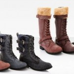 Rasolli Fur Cuff Combat Boots Vegan Leather $29.99 Shipped!
