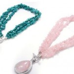 Rose Quartz or Turquoise Earring and Necklace Set Only $24.99 Shipped!