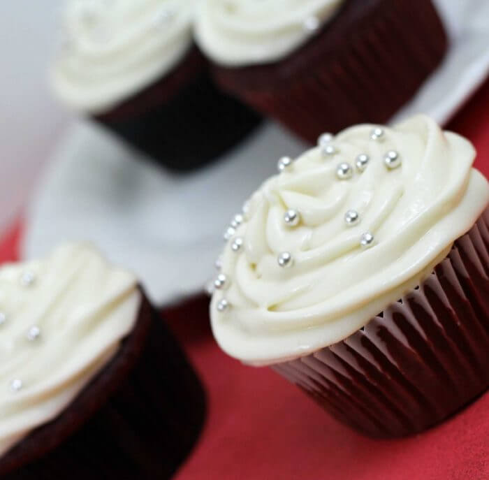 red velvet cupcakes are rich in flavor