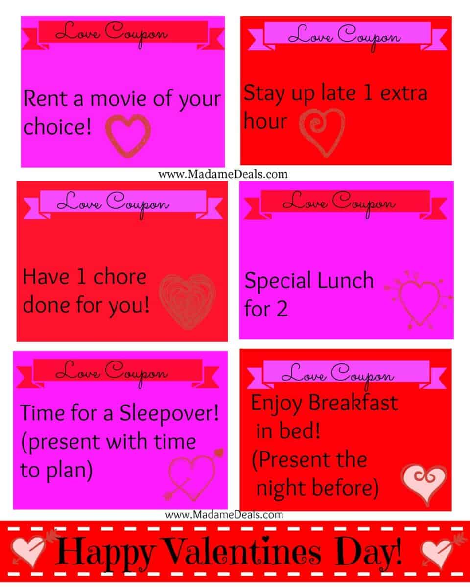 To print these Free Printable Valentine Love Coupons >>> Go HERE !