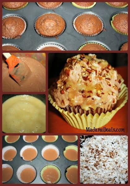 German Chocolate Cupcakes Steps