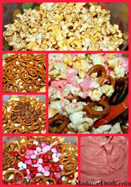 Valentines Snack Mix steps