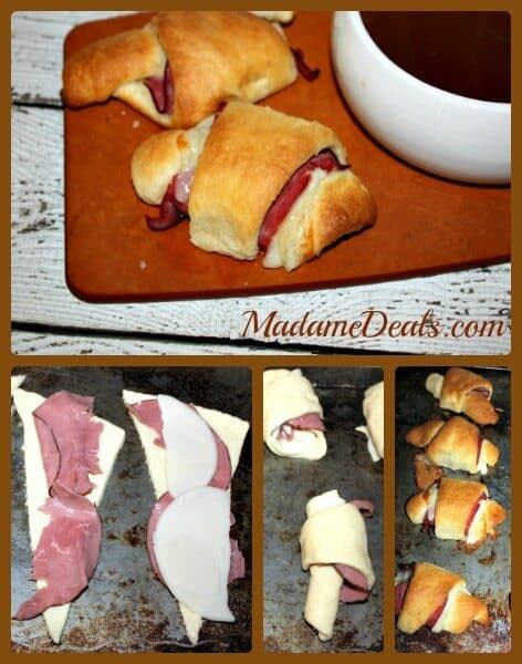 French Dip Crescent Rolls steps