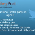 Join us for an Abbey Post Made to Measure Twitter Party on April 1st!