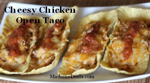 Cheesy Chicken Open Tacos