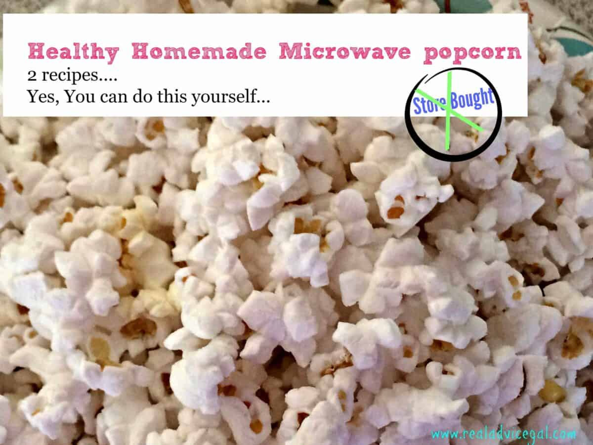 healthy homemade popcorn in a microwave