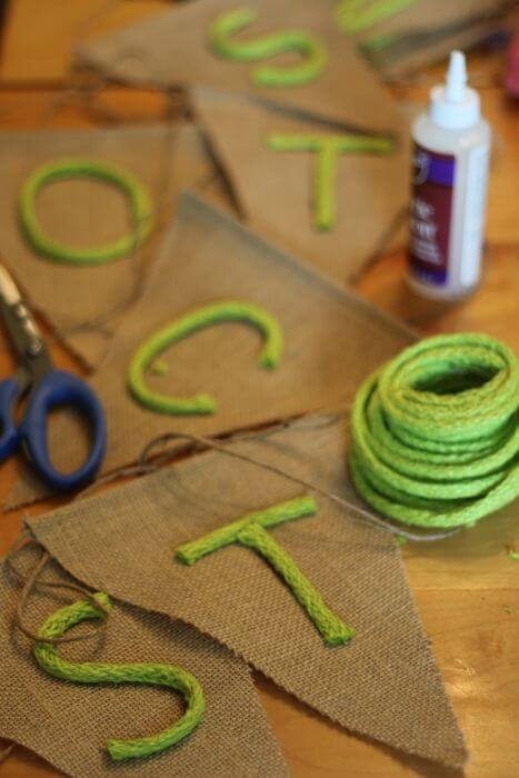 burlap banner letters on triangles