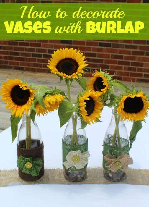 how to decorate vases with burlap and twine and sunflowers
