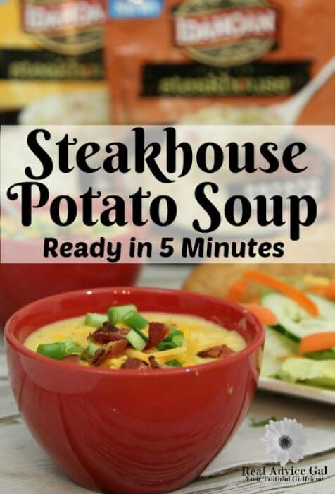 Idahoan Steakhouse Potato Soup tastes like slow cooked and simmered soup but is ready in just five minutes