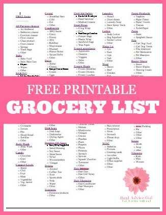 Free Printable Grocery List  Madame Deals Inc