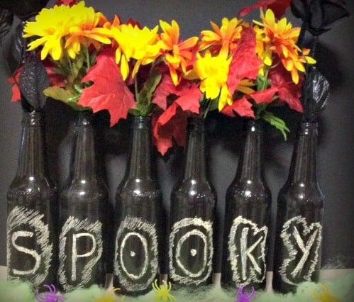 DIY Chalkboard Beer Bottle Vases