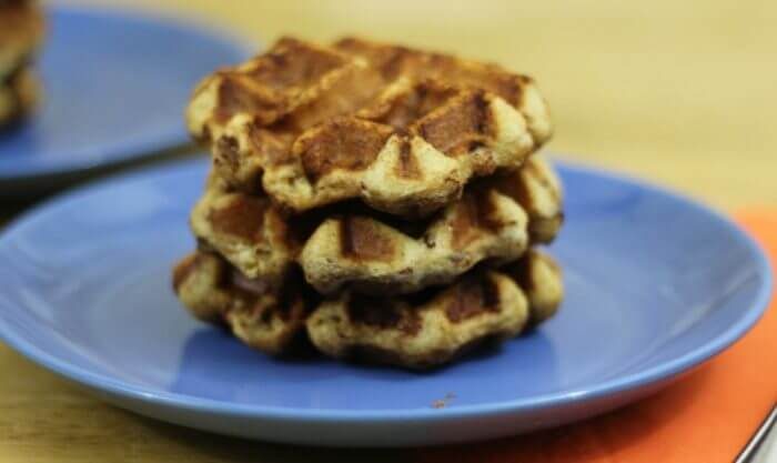 Cinnamon Roll Waffles can be served with butter and syrup