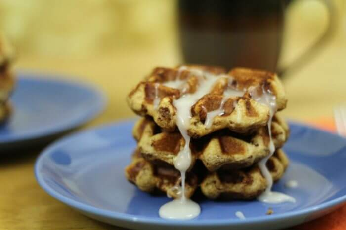Cinnamon Roll Waffles out of the can and with icing