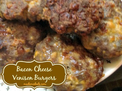 Bacon Cheese Venison Burgers