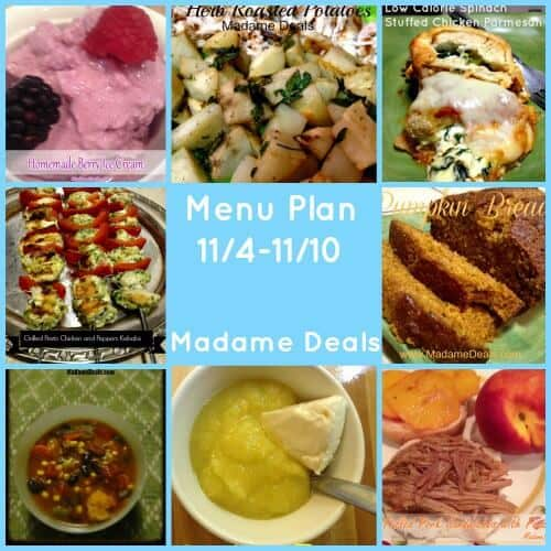 Week of November 4th Menu Plan