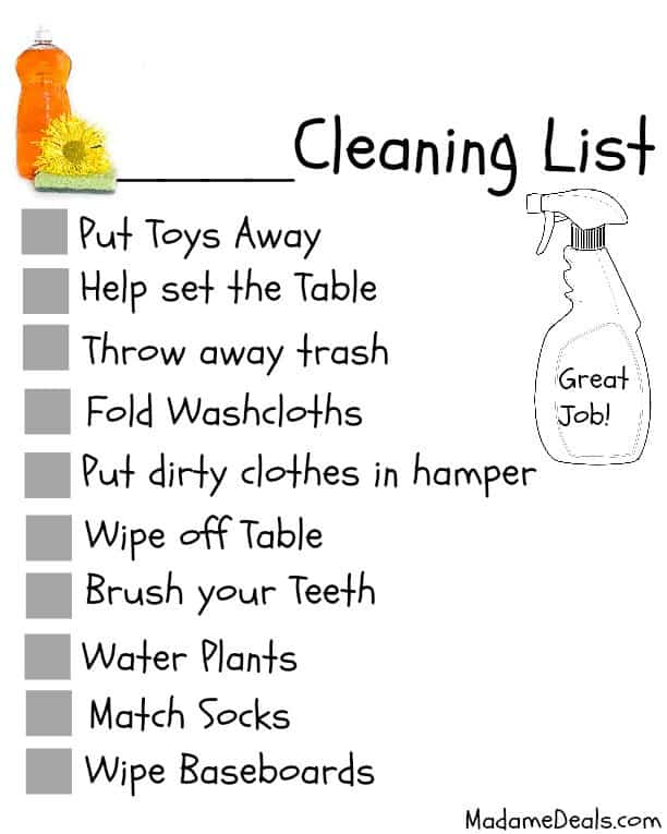 graphic relating to Free Printable Chore Chart Ideas known as 10 recommendations for Little one Chores + Free of charge Printable Chore Charts