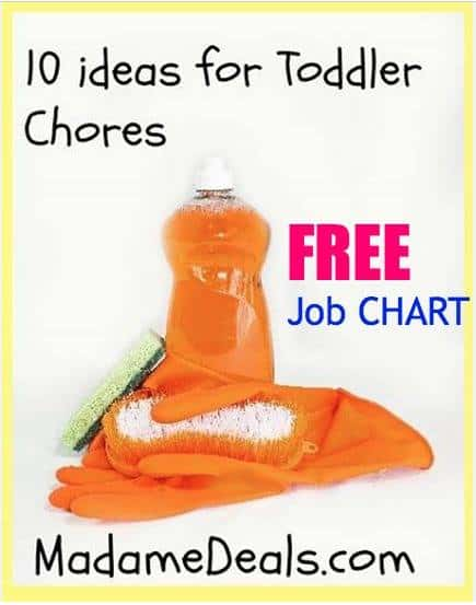 10 ideas for Toddler Chores + Free Printable Chore Charts