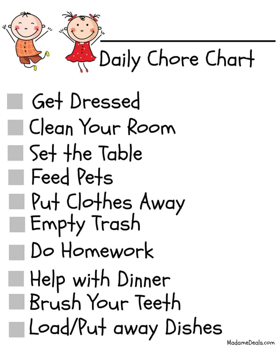 photo about Free Printable Chore Chart Ideas known as No cost Printable Chore Charts - 10 Programs for Higher education Age Boy or girl