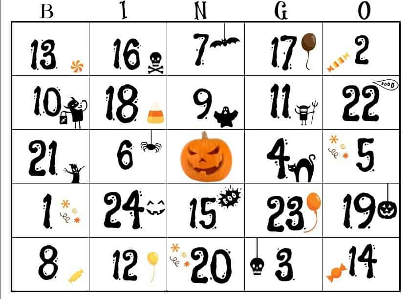 image relating to Free Halloween Bingo Printable known as Cost-free Halloween Printable for boys and women of all ages