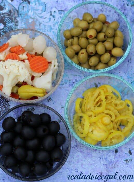 ingredients for olive salad