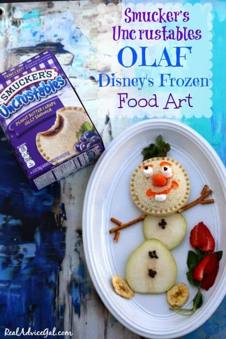 Super fun food art for kids featuring Olaf of Disney's Frozen