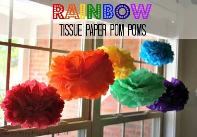 rainbow tissue pom poms
