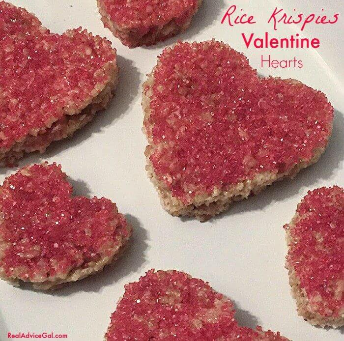 Heart Shaped Rice Krispies Valentine Treats