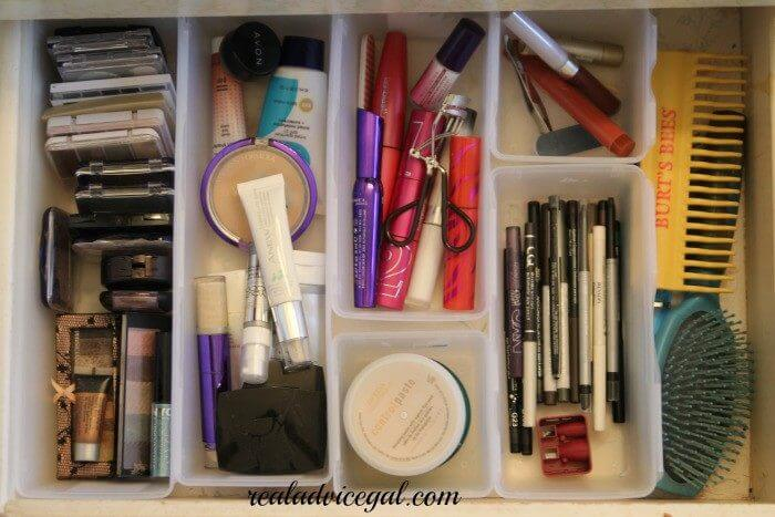 completely reorganized make up drawer with the perfect drawer organizers from Dollar Tree
