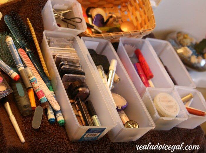 getting organized with containers from the dollar tree
