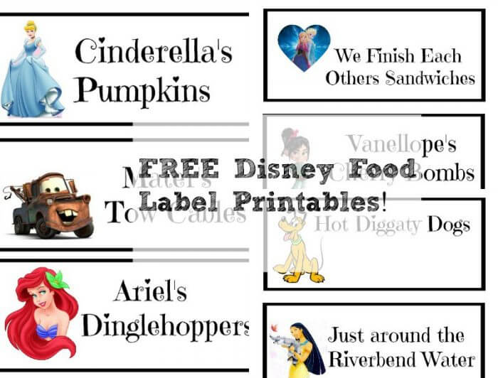 FREE Disney Food Label Printables!