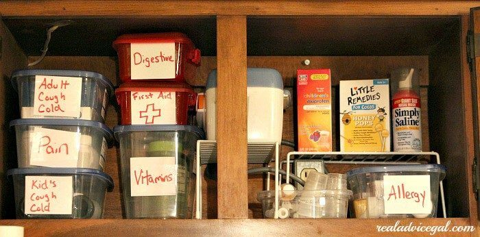 organized medicine cupboard