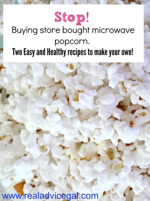 Healthy homemade microwave popcorn