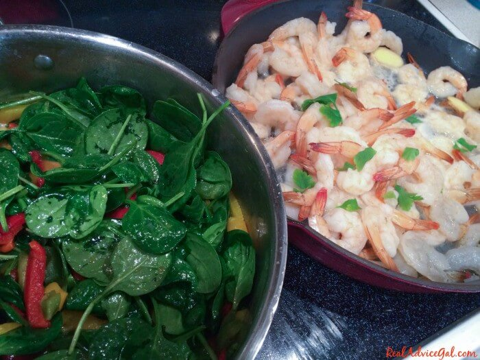 Garlic Ginger Shrimp Over Spinach