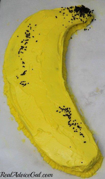 choclate banana applesauce cake with sprinkles