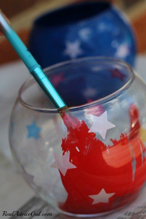 4th of July table decorations paint the inside of the container