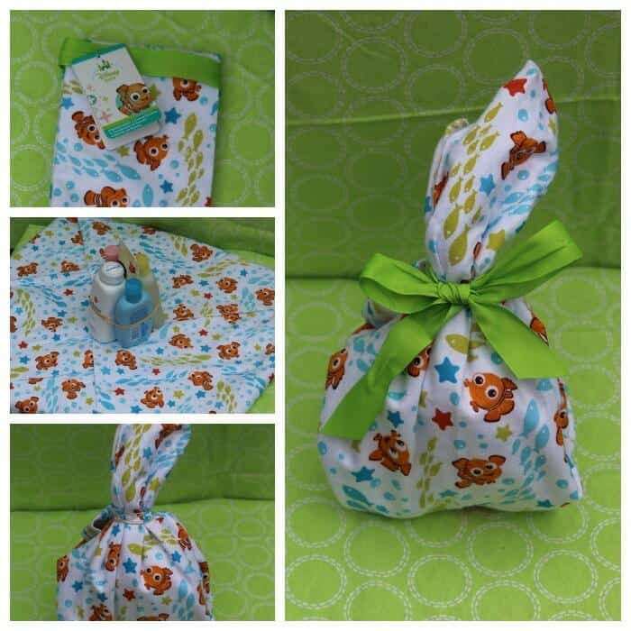 Disney Baby bath time gift basket wrapping up the shampoos