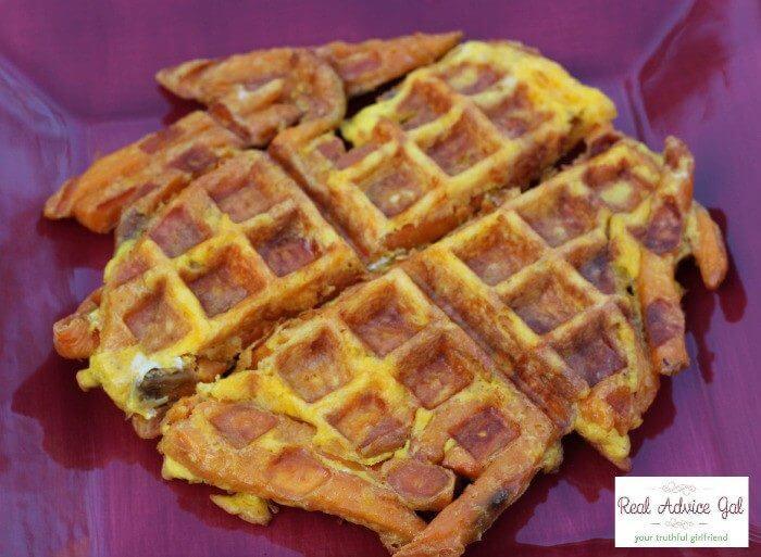 how to make sweet potato waffle fries finished waffle
