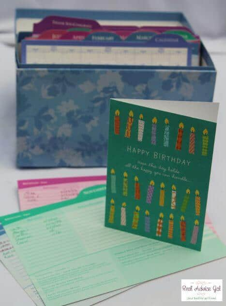 fill your greeting card organizer box, Birthday card