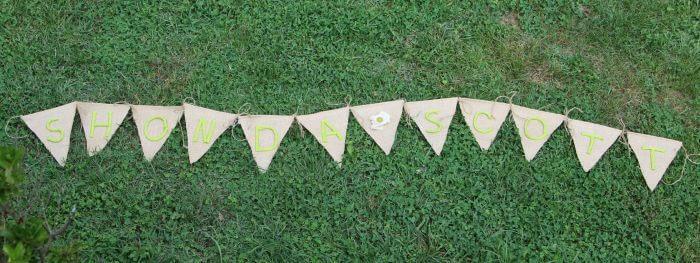 burlap banner finished