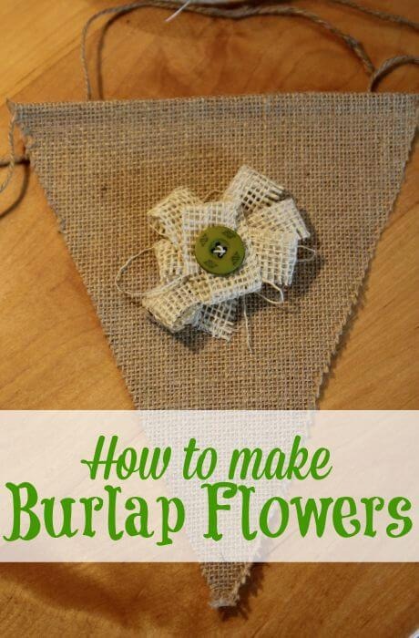 how to make burlap flowers attached to burlap banner triangle with text