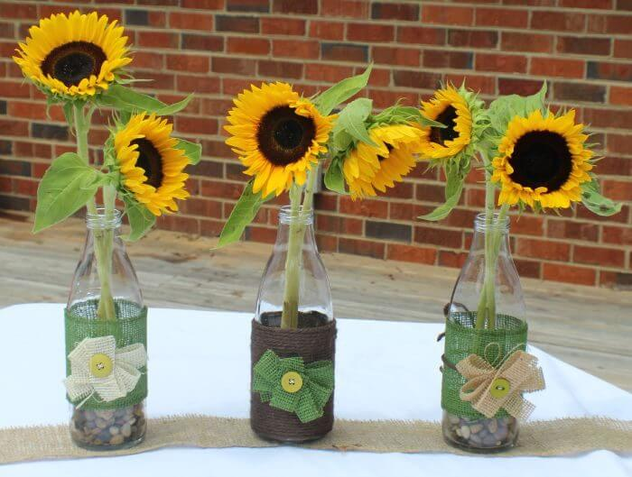 How to decorate vases with burlap and twine finished vases with sunflowers