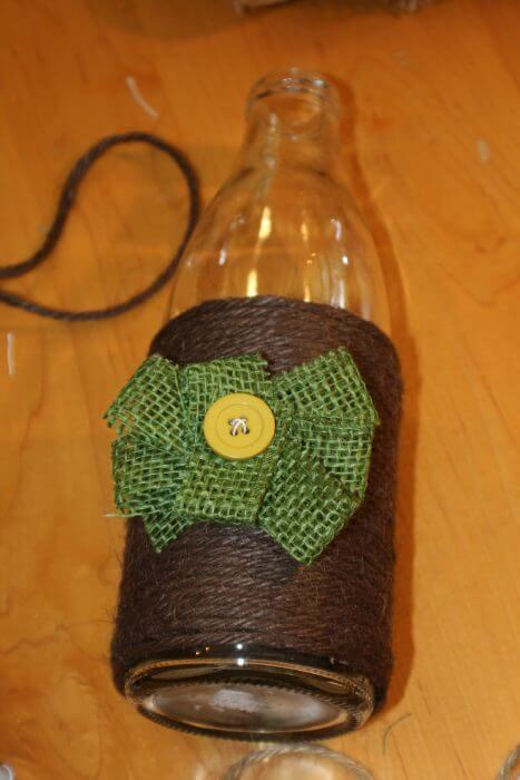 how to decorate a vase with twine add a burlap flower