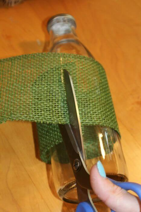how to decorate a vase with burlap cut and measure burlap