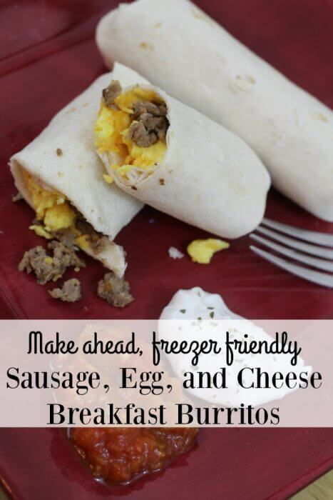 Our make ahead, freezer friendly sausage, egg, and cheese breakfst burritos recipe is sure to be a quick hit