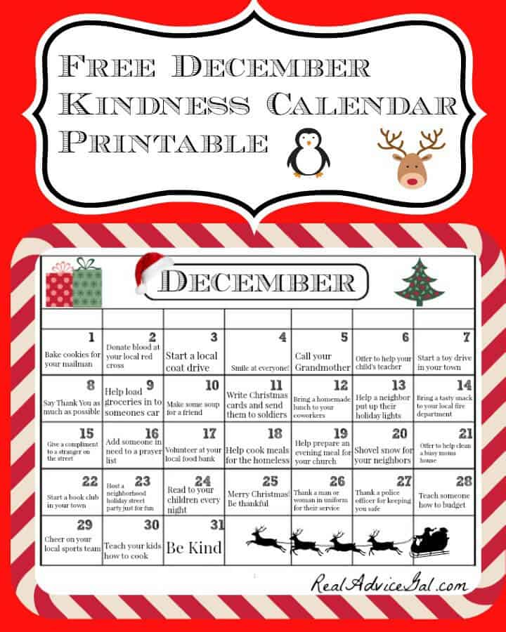 Free December Kindness Calendar Printable
