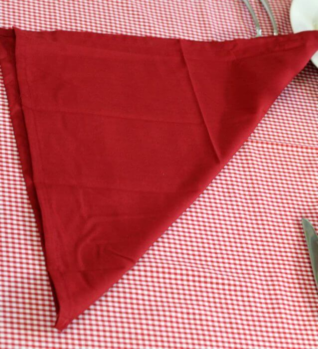 Fold the napkin in half to form a triangle