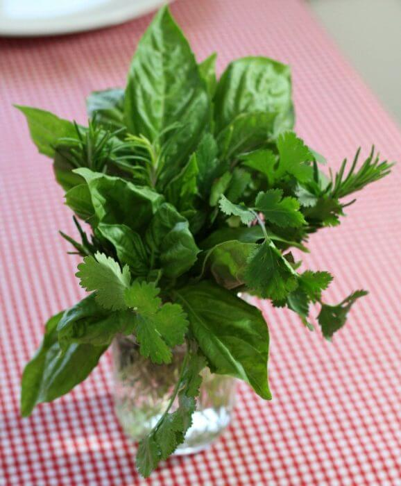 Make a centerpiece with fresh herbs to complete your Italian Table Setting