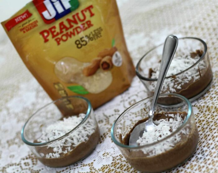 Peanut powder pudding made with Jif Peanut Powder