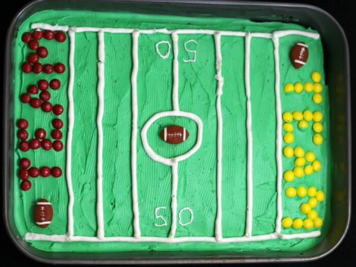 decorated football field brownies